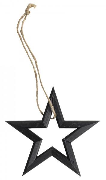 Aufhänger Holzstern, schwarz, 19,5cm