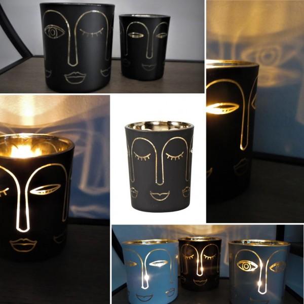 """Glas-Windlicht """"Gesicht"""" Schwarz-Gold, 7cm, Speedtsberg"""