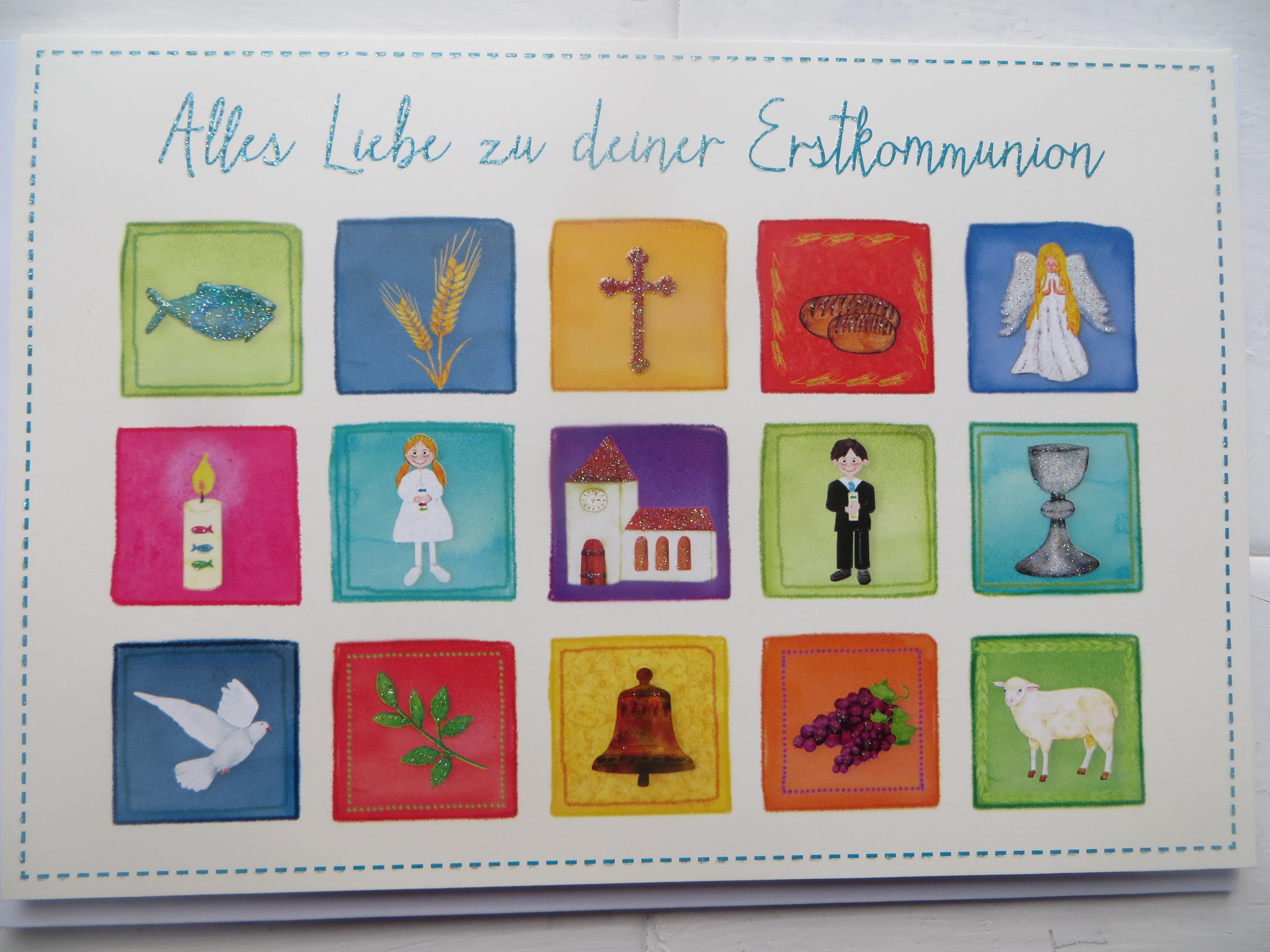 Nützlichgrusskarten - Klappkarte Alles Liebe zu deiner Erstkommunion - Onlineshop Tante Emmer