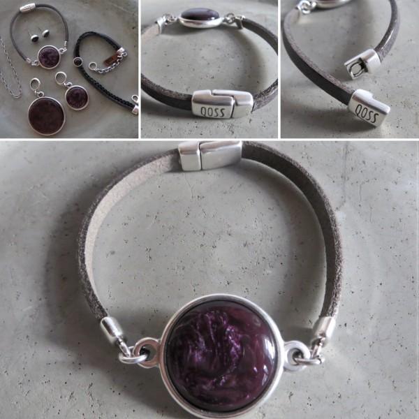 QOSS Armband MADELON Vintage-Schwarz/ Violett, M