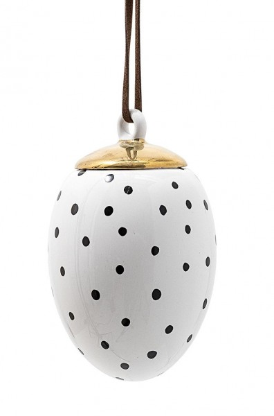 Oster-Ei Weiß, mit schwarzen Punkten
