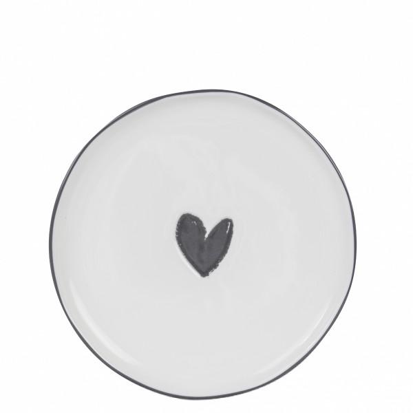Desserplatte, Dessert-oder Kuchenteller weiß mit schwarzem Herz Bastion Collections B.V.