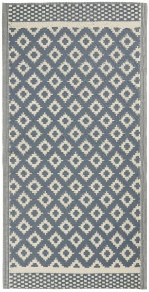Teppich, gemustert, aus Recyclingplastik, blau - weiß