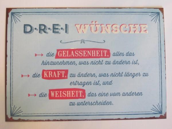 """Postkarte """"""""Drei Wünsche... die Gelassenheit...die Kraft... die Weisheit....."""" Vintage Art"""