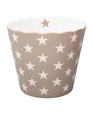 Schale / Schüssel ideal für Chips in taupe mit weißen Sternen