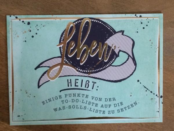 """Postkarte """"Leben heißt: Einige Punkte von der To-do-Liste auf die was-solls-LIste zu setzen.* Vintag"""