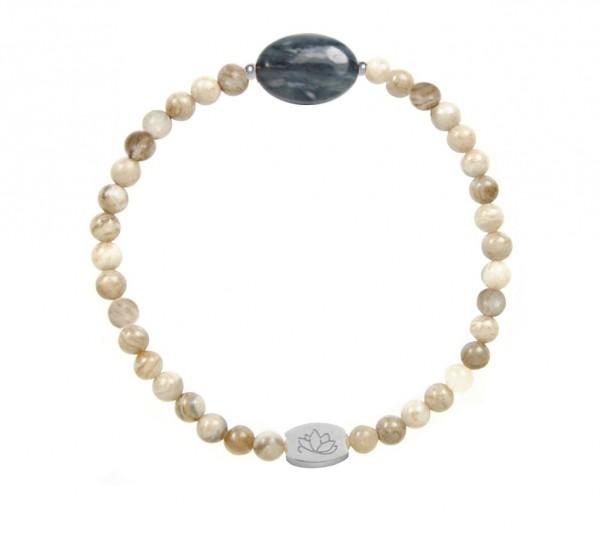 MAS jewelz Armband Silberblattjaspis 4mm mit ovalem Stein Blauquartz