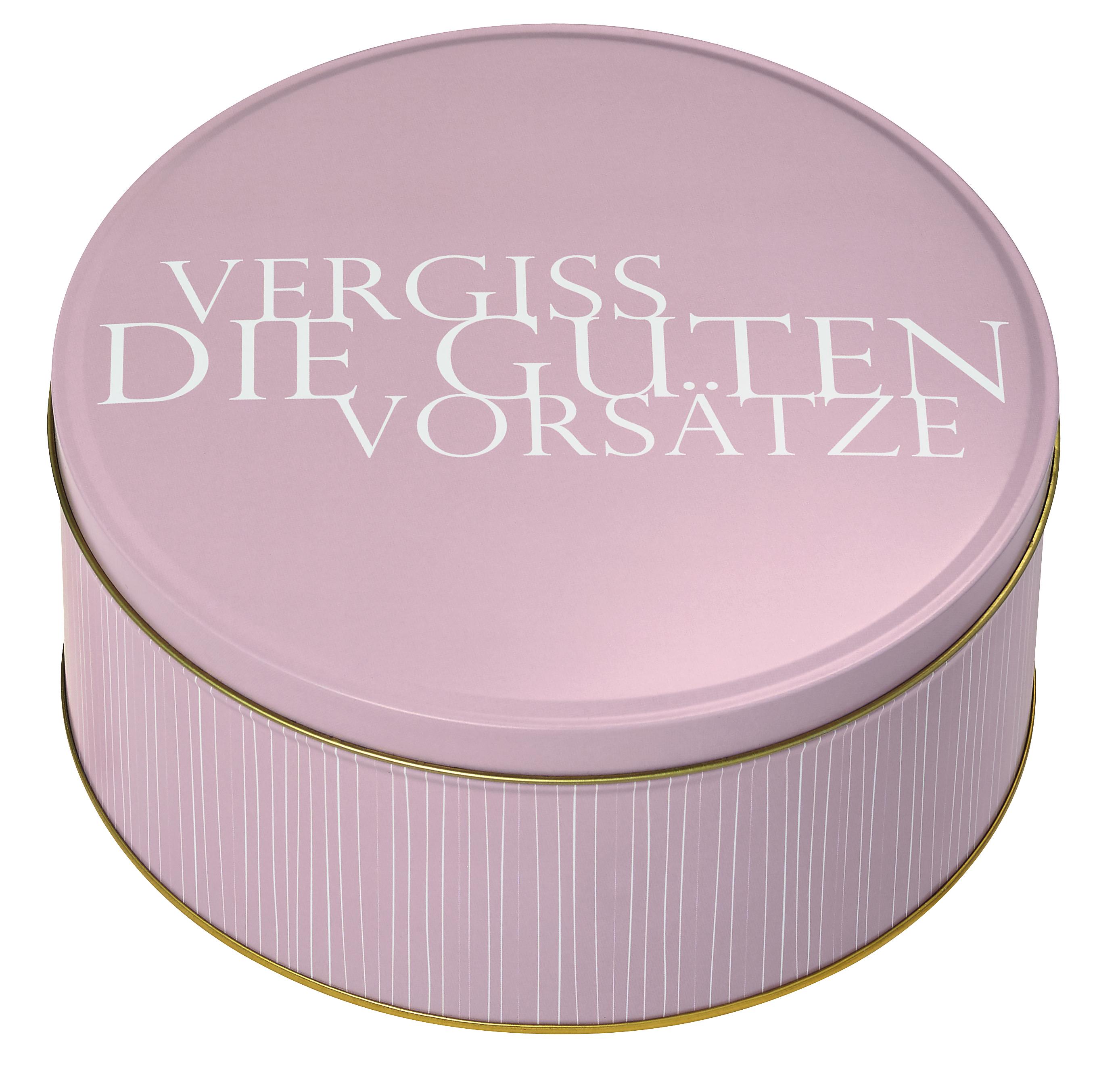 Nützlichküchenaccessoires - Keksdose Vergiss die guten Vorsätze rosa gold weiß räder - Onlineshop Tante Emmer