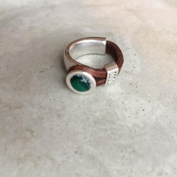QOSS Fingerring GWEN Braun-Smaragdgrün L