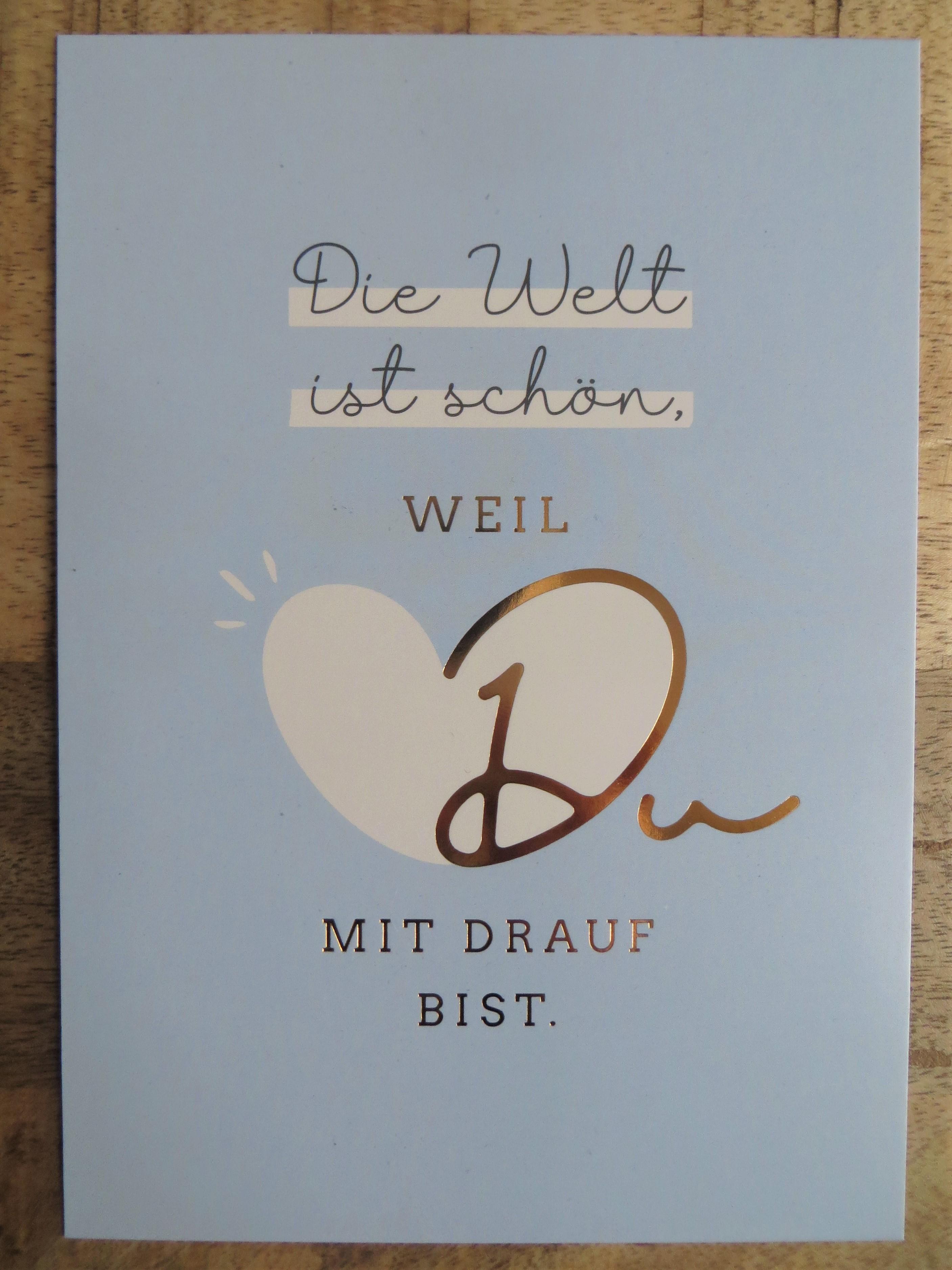Nützlichgrusskarten - Postkarte Die Welt ist schön weil Du mit drauf bist. VintageArt - Onlineshop Tante Emmer