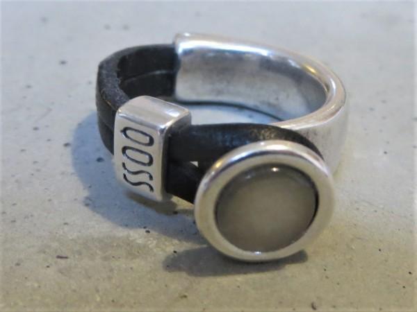 QOSS Fingerring GWEN Schwarz-Silber L