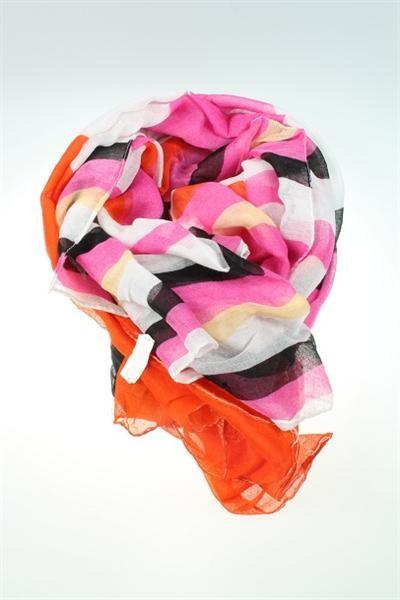 Halstuch pink-schwarz-weiß-gelb-orange in Streifen La Fines