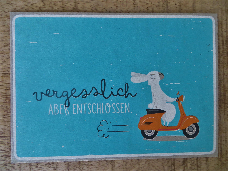 Nützlichgrusskarten - Postkarte vergesslich ABER ENTSCHLOSSEN. KUNST und BILD - Onlineshop Tante Emmer