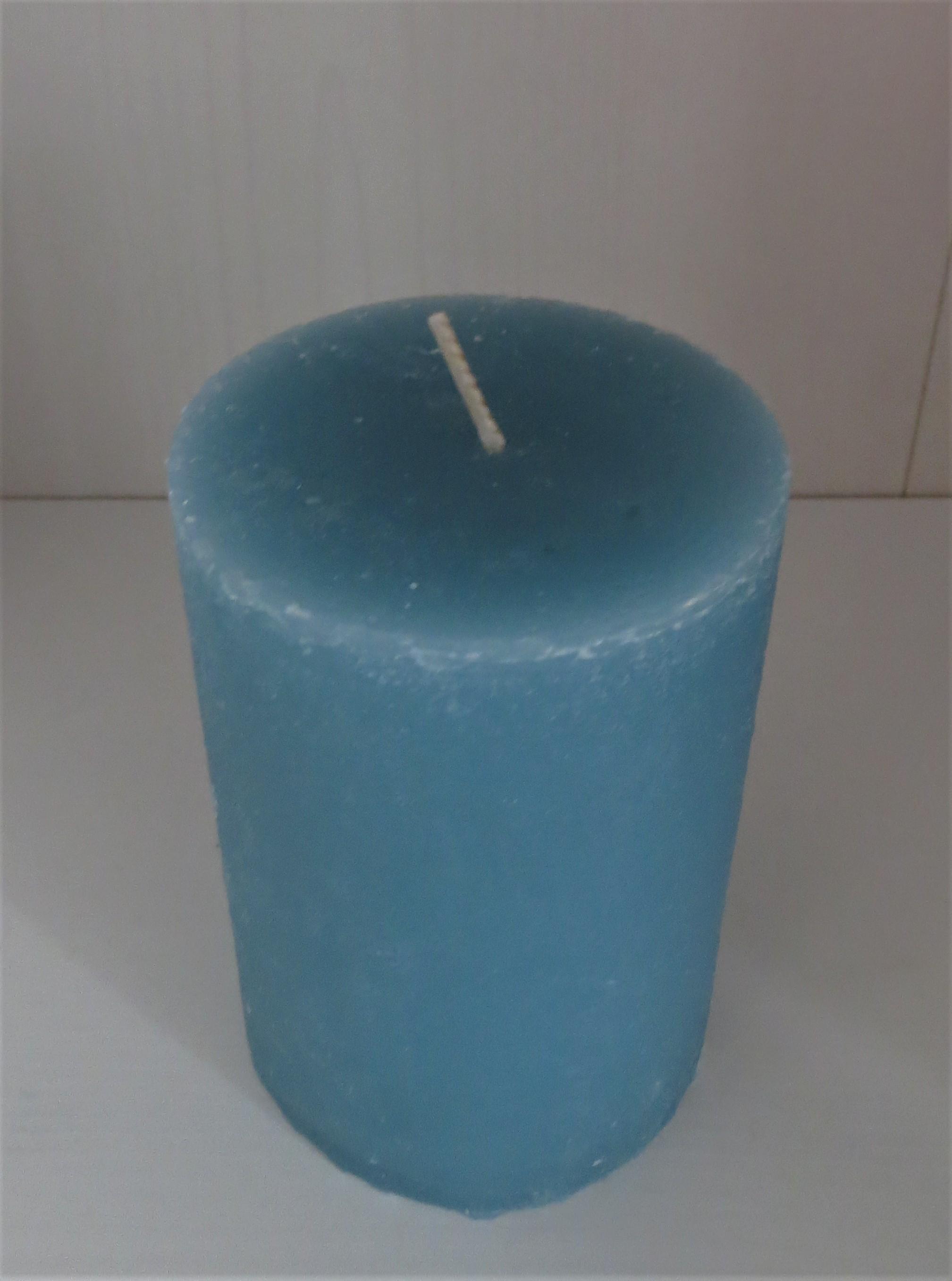 Stumpenkerze seeblau Höhe 10 cm