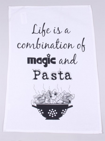 "Geschirrhandtuch ""Life is the combination of magic and pasta"""