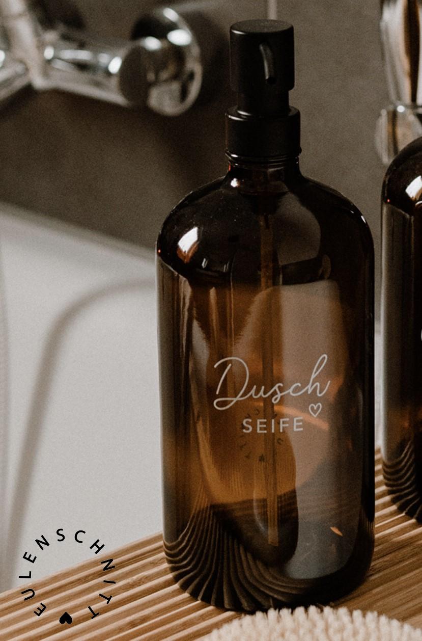 Nützlichwellness - Glasflasche Pump Spender DuschSEIFE 1000ml Braunglas Eulenschnitt - Onlineshop Tante Emmer